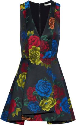 Alice + Olivia Tanner Pleated Floral-jacquard Mini Dress