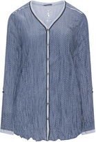 Via Appia Plus Size Geo print crinkle blouse