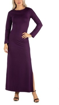 24seven Comfort Apparel Women's Form Fitting Long Sleeve Side Slit Maxi Dress