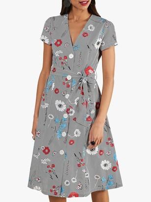 Yumi Stripe Floral Shirt Dress, Navy