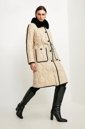 Karen Millen Faux Fur Collared Quilted Coat