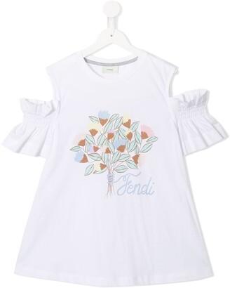 Fendi Kids flower logo T-shirt