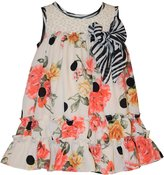Bonnie Jean Little Girls Coral Floral Zebra Dress