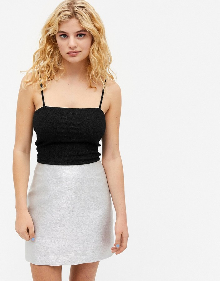 Thumbnail for your product : Monki Lucy glitter mini skirt in silver