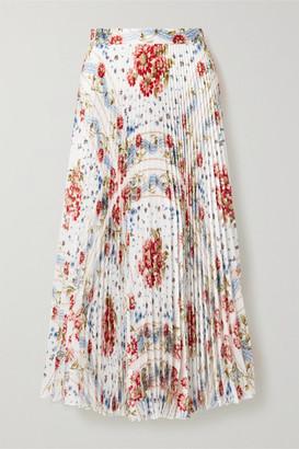 Paul & Joe Pleated Floral-print Voile Midi Skirt - White