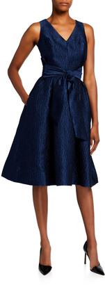 Rickie Freeman For Teri Jon V-Neck Sleeveless Jacquard Dress with Sash Belt