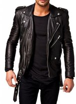 SAWD Leather Men's Lambskin Leather Motorcycle Biker jacket