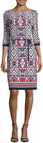 Liz Claiborne 3/4 Sleeve Medallion Shift Dress