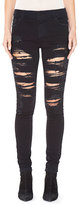 Alice + Olivia Jane Embellished & Distressed Skinny Jeans, Black