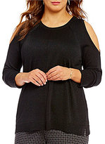 Vince Camuto Plus Round Neck Lurex Cold-Shoulder Sweater