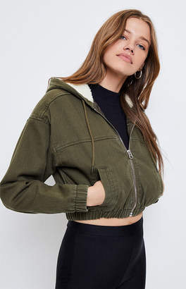 Pacsun PacSun Olive Hooded Bomber Jacket