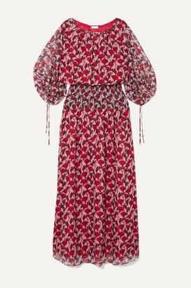 Eywasouls Malibu Evelyn Shirred Floral-print Chiffon Maxi Dress - Pink