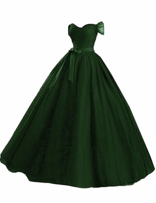 Stillluxury Tulle Off Shoulder Long Evening Gowns Plus Size Formal Dresses Women Ballgown Dark Green Size 18