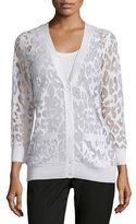 Magaschoni Burnout Leopard Cardigan with Pockets
