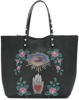 RED Valentino shearling-lined printed tote
