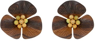 Silvia Furmanovich 18kt yellow gold diamond Sculptural Botanical Flower earrings