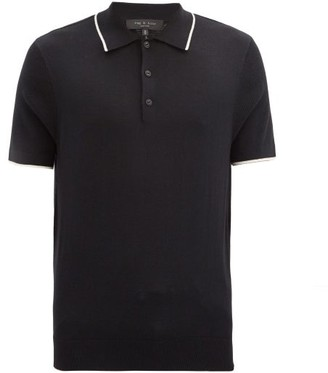 Rag & Bone Jalen Tipped Cotton-blend Jersey Polo Shirt - Black