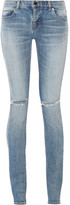 Saint Laurent Distressed Mid-rise Skinny Jeans - Mid denim