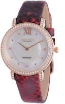 Johan Eric Ribe Quartz Diamond Burgundy Leather Strap Watch