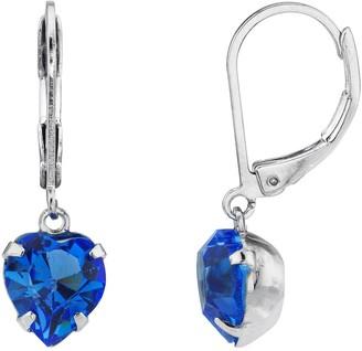 1928 Silver Sapphire Swarovski Crystal Heart Drop Earrings