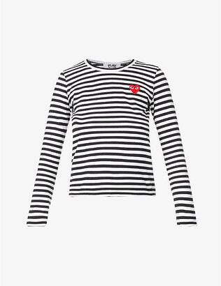 Comme des Garcons Heart-applique cotton-jersey top