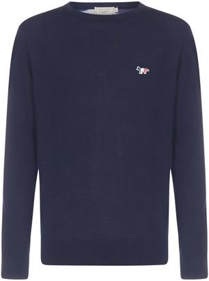 MAISON KITSUNÉ Tricolor Fox-patch Wool Sweater