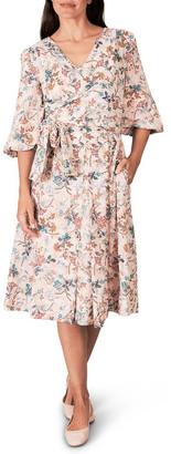 Blue Illusion Heritage Print Wrap Dress