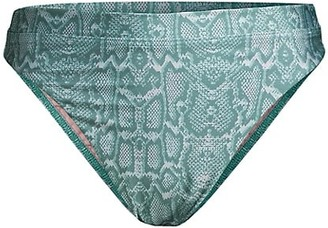 SUBOO Sylvie Snake-Print High-Cut Bikini Bottom