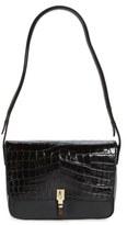 Elizabeth and James 'Cynnie' Croc Embossed Leather Shoulder Bag - Black