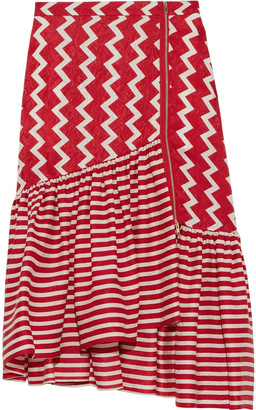 Stella McCartney Jane Asymmetric Striped Silk-satin Jacquard Skirt