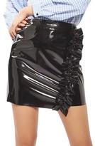 Topshop Women's Ruffle Vinyl Miniskirt