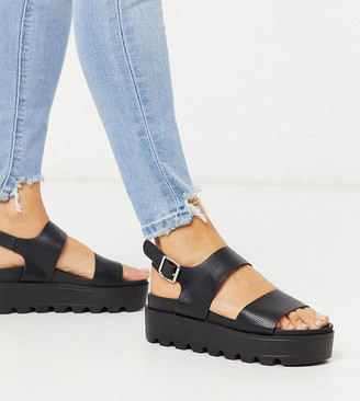 Co Wren Wide Fit chunky sole sandals in black