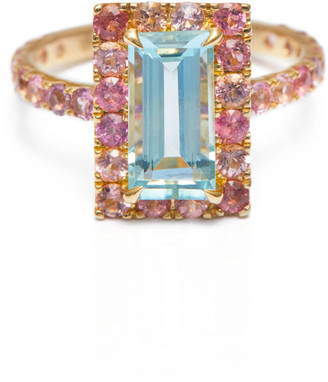 Yi Collection Aquamarine Pink Tourmaline Candy Ring