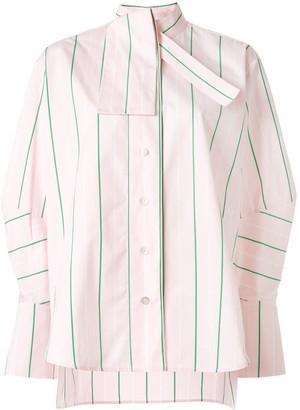 Palmer Harding Tie-Neck Striped Poplin Shirt