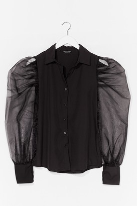 Nasty Gal Womens Strut Your Puff Sleeve Organza Shirt - Black - S