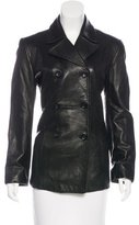 Henri Bendel Leather Double-Breasted Coat