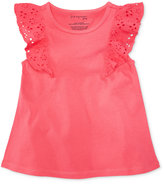 First Impressions Flutter-Sleeve Cotton Top, Baby Girls (0-24 months), Created for Macy's