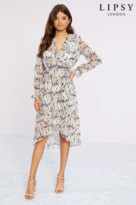 Lipsy Printed Midi Dress - 6 - Black