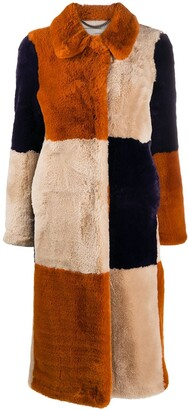 Stella McCartney Fur Free Fur panelled coat