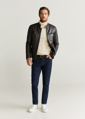 MANGO Zipper Napa biker jacket