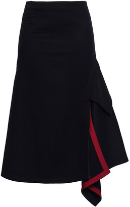 Victoria Beckham Asymmetric Pleated Wool-felt Skirt