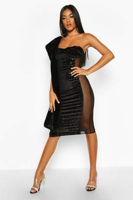boohoo Bandeau Cupped Mesh Panel Velvet Midi Dress