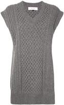 Le Ciel Bleu V-neck cable knit vest