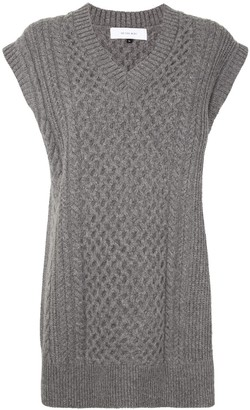 Le Ciel Bleu V-neck cable knit vest