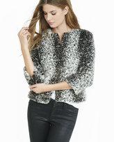 Express faux leopard fur chubby jacket