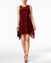 Robbie Bee Petite Lace Handkerchief-Hem Dress