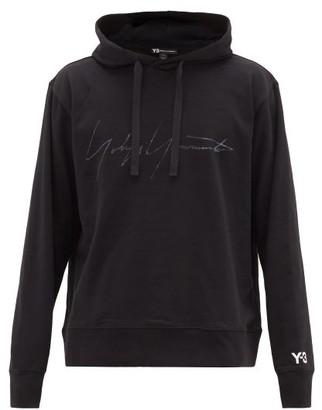 Y-3 Hooded Signature-print Cotton-jersey Sweatshirt - Mens - Black