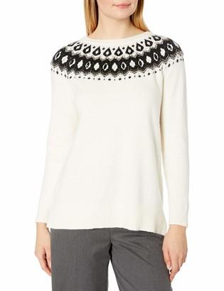 Vince Camuto Women's Long Sleeve Embellished Yoke Jacquard Stitch Sweater