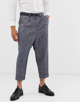 ASOS DESIGN drop crotch tapered smart trouser in blue herringbone with turn up
