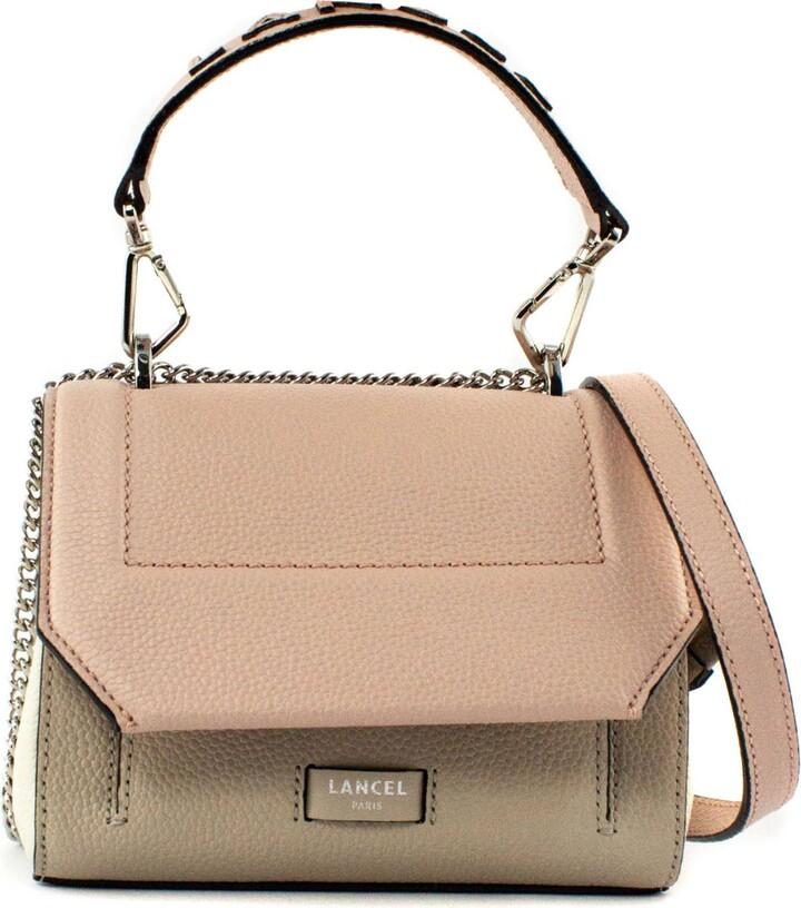 Lancel Beige And Pink Leather Shoulder Bag